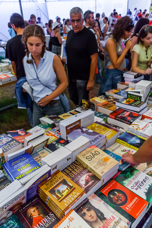 Seixal, Portugal - September 5, 2015: Book Fair at the Festa do Avante Festival. The largest and most important Political-Cultural event in Portugal. Organized by the Portuguese Communist Party.
