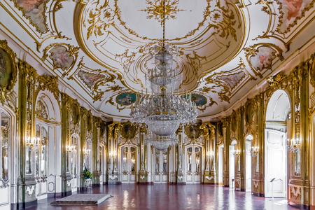 palacio: Queluz, Portugal - September, 2015: Throne room Sala do Trono in the Queluz Palace, Portugal. Formerly used as the Summer residence by the Portuguese royal family. Editorial