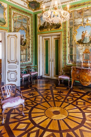 palacio: Queluz, Portugal - September, 2015: Queens Dressing Room Sala do Toucador da Rainha in Queluz National Palace, Portugal. Formerly used as the Summer residence by the Portuguese royal family. Editorial