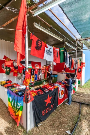 che guevara: Seixal, Portugal - September 5, 2015: Festa do Avante festival, the most important Political-Cultural event in Portugal. Booth in the International City zone. Portuguese Communist Party organization.