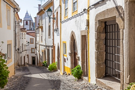Santa Maria street in Castelo de Vide, Alentejo, Portugal. This street leads to the Castle.