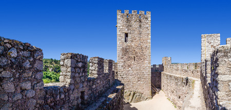 ramparts: Keep and bailey of the Templar Castle of Almourol. One of the most famous castles in Portugal. Built on a rocky island in the middle of Tagus river.