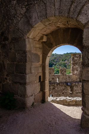 templars: Bailey entrance of the Templar Castle of Almourol. One of the most famous castles in Portugal. Built on a rocky island in the middle of Tagus river.