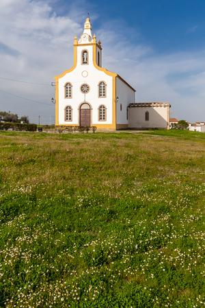 temporarily: The parish church of Flor da Rosa where the knight Alvaro Goncalves Pereira was temporarily buried. Crato, Alto Alentejo, Portugal. Stock Photo