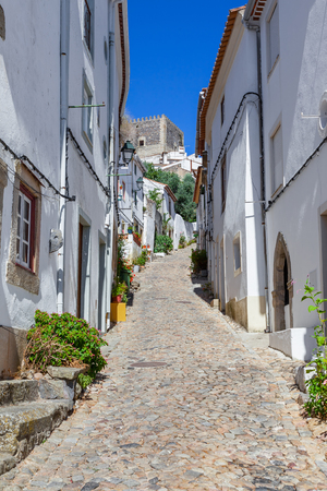 sephardi: Castle seen form the Medieval Jewish Quarter  Ghetto (Judiaria) in Castelo de Vide,  Alto Alentejo, Portugal. Stock Photo