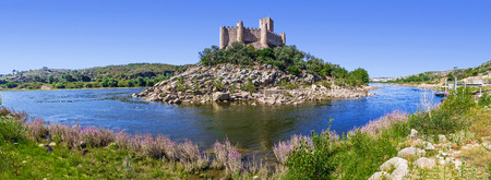knights templar: Panorama of the Templar Castle of Almourol and Tagus river. One of the most famous castles in Portugal. Built on a rocky island in the middle of Tagus river. Editorial
