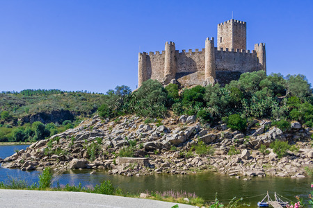 templar: Templar Castle of Almourol. One of the most famous castles in Portugal. Built on a rocky island in the middle of Tagus river. Editorial
