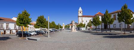 cityhall: Panorama of Dom Pedro V Square in Castelo de Vide. Santa Maria da Devesa church and City-Hall . Alto Alentejo, Portugal Stock Photo