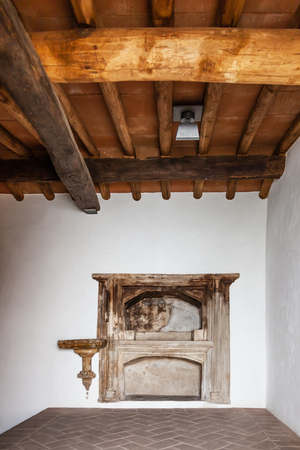 13th century: Castelo de Vide, Portugal - August 30, 2015: Aron ha kodesh (Torah Ark) in the Medieval Sephardic Synagogue (13th  14th century) in Castelo de Vide, Alto Alentejo, Portugal