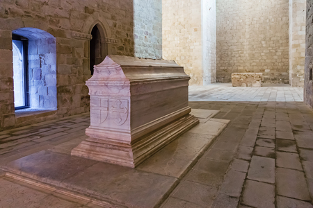 Crato, Portugal. February 26, 2015: Tomb of Dom Alvaro Goncalves Pereira in the nave of the church of the Flor da Rosa Gothic Monastery. Hospitaller Crusader Knight of the Malta Order. Editorial