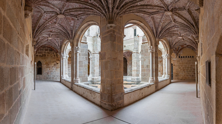 flor: Crato, Portugal. August 8, 2015: Cloister of the Flor da Rosa Monastery. Belonged to the Hospitaller Knights aka Malta Order, a Crusader Order. Currently a Pousada de Portugal  Historical Inn.