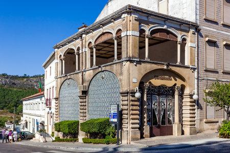 art door: Castelo de Vide, Portugal - August 30, 2015: Boutique Sombrinha, a Art Nouveau building, in Castelo de Vide, Portalegre, Alto Alentejo, Portugal