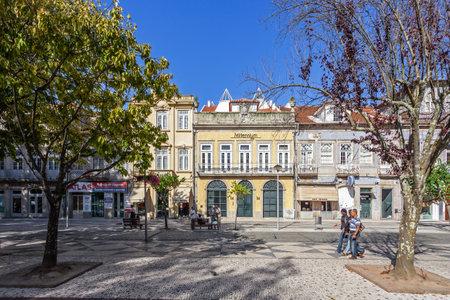 bcp: Vila Nova de Famalicao, Portugal - September 06, 2015: Millennium BCP Agency and old buildings of Vila Nova de Famalicao (Luis Barroso streetDona Maria II Square). Braga,Portugal