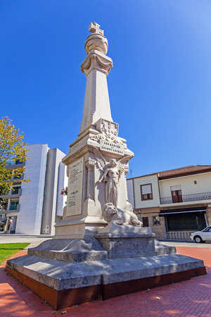 world war: Vila Nova de Famalicao, Portugal - September 06, 2015: Close up of the Memorial to the victims of the First World War (the Great War) in 9 de Abril Square, Vila Nova de Famalicao city, Portugal. Editorial