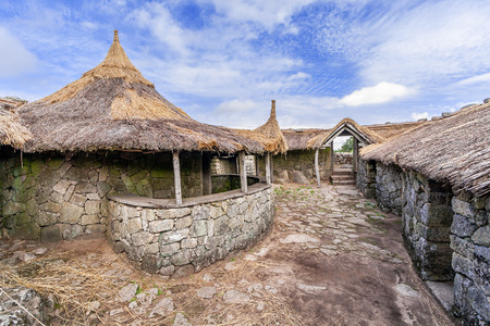 reconstructed: Interior of the reconstructed family nucleus building in Citania de Sanfins. A Castro Village (fortified Celtic-Iberian pre-historic settlement) in Pacos de Ferreira, Portugal. Stock Photo