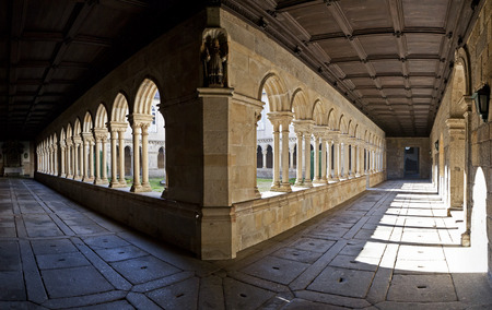 benedictine: Cloister panorama of the S. Bento monastery in Santo Tirso, Portugal. Benedictine order. Built in the Gothic (cloister) and Baroque (church) style.