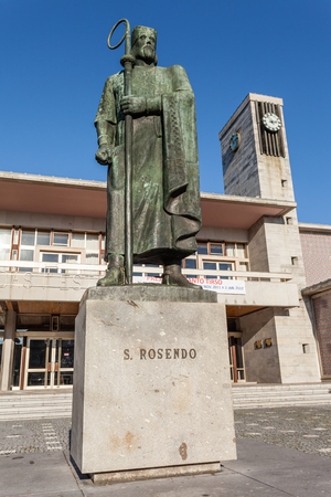 cityhall: Santo Tirso, Portugal. December 22, 2015: Statue of Saint Rudesind (Sao Rosendo) in front of the city-hall. Editorial