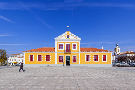 dr: Nisa, Portugal. February 26, 2015: The Municipal Library of Nisa also known as Biblioteca Municipal Dr. Motta e Moura. Nisa, Portugal. Editorial
