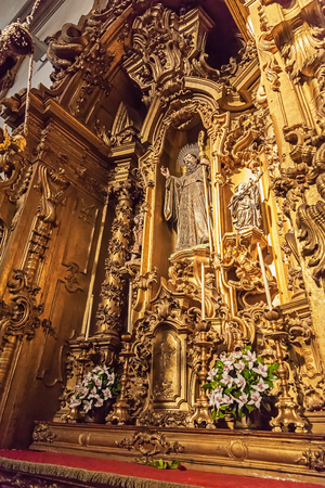 religious building: Santo Tirso, Portugal. December 26, 2015: Altar of the S. Bento monastery. Benedictine order. Built in the Gothic (cloister) and Baroque (church) style. Editorial