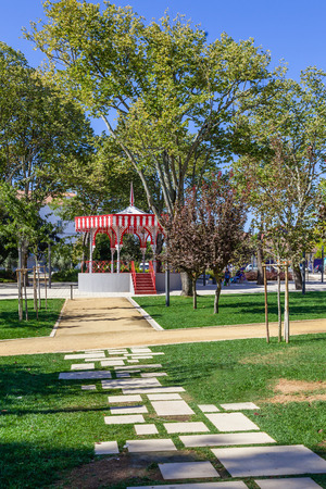 bandstand: The Republica Garden in Santarem, Portugal, with the 19th century Bandstand.