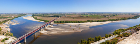 ribatejo: Santarem, Portugal. Dom Luis I Bridge crossing the Tagus River (Rio Tejo), the largest of the Iberian Peninsula, with the Leziria landscape seen from Portas do Sol belvedere.