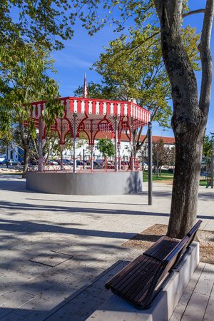 european culture: 19th century Bandstand in the Republica Garden, Santarem, Portugal. Stock Photo