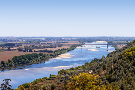 ribatejo: The Tagus River (Rio Tejo), the largest of the Iberian Peninsula, and the Leziria landscape seen from Portas do Sol belvedere. Santarem, Portugal. Stock Photo