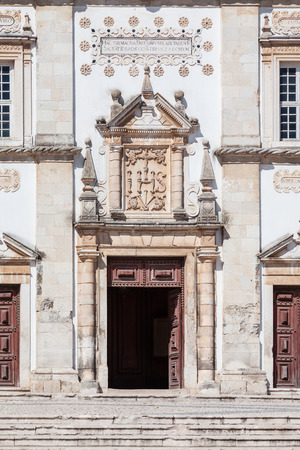 mannerism: Portal of the Mannerist Santarem See Cathedral aka Nossa Senhora da Conceicao Church. Portugal Stock Photo