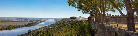 ribatejo: The Tagus River (Rio Tejo), the largest of the Iberian Peninsula, and the Leziria landscape seen from castle walls in Portas do Sol belvedere. Santarem, Portugal.