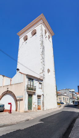 ribatejo: Cabacas Tower, a very tall medieval watchtower and remnant of the former castle. Today is used as the Museum of Time. Santarem, Portugal. Editorial