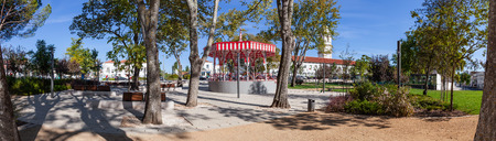 the 19th century: The Republica Garden in Santarem, Portugal, with the 19th century Bandstand.