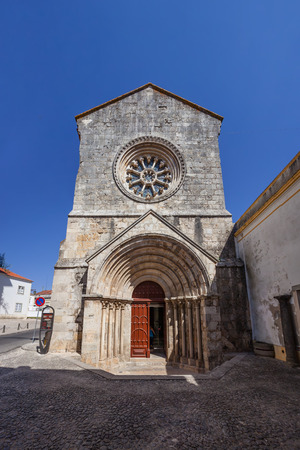 ribatejo: Sao Joao de Alporao Church, showing a Romanesque Portal and Gothic Wheel Window. Built by the Crusader Knights of Hospitaller or Malta Order. 12th and 13th  century. Santarem, Portugal