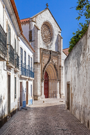 flamboyant: Santo Agostinho da Graca church, seen from one of the old streets of Santarem. 14th and 15th century Mendicant and Flamboyant Gothic Architecture. Santarem, Portugal.
