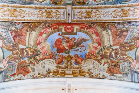 17th: Baroque frescoes in the ceiling of Hospital de Jesus Cristo Church. 17th century Portuguese Mannerist architecture called Chao. Santarem, Portugal