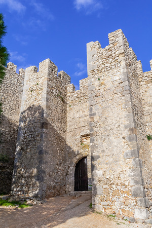 ramparts: Entrance of the medieval Sesimbra castle, Portugal.