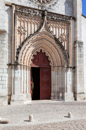 15th century: Flamboyant Gothic Portal of the Santo Agostinho da Graca church. 14th and 15th century Mendicant and Flamboyant Gothic Architecture. Santarem, Portugal.