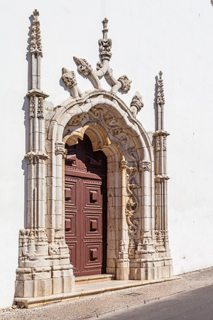 16th century: Portal in the Manuelino or Manueline style of Nossa Senhora de Marvila Church. 16th century Renaissance and architecture. Santarem, Portugal. Stock Photo