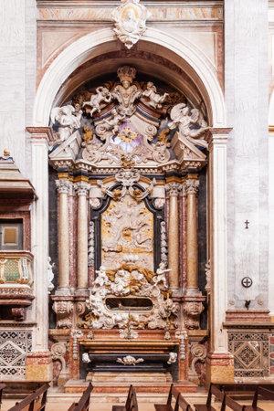 ribatejo: Santarem, Portugal. September 10, 2015: Monumental baroque carrara marble altar inside the Santarem See Cathedral aka Nossa Senhora da Conceicao Church. 17th century Mannerist style.