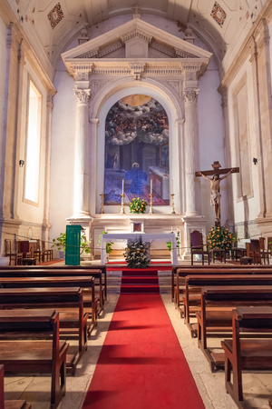 17th: Santarem, Portugal. September 10, 2015: Altar of the Hospital de Jesus Cristo Church. 17th century Portuguese Mannerist architecture, called Chao.
