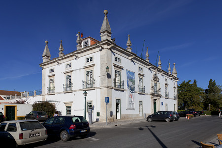cityhall: Santarem, Portugal. September 10, 2015: The former Eugenio Silva Palace, a 17th century Manor-House currently used as the city-hall of Santarem. Editorial