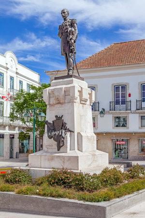 Santarem, Portugal. September 11, 2015:  Statue of the Sa da Bandeira Viscount, placed in the centre of Sa da Bandeira Square