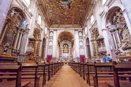 pews: Santarem, Portugal. September 10, 2015: Interior of the Santarem See Cathedral aka Nossa Senhora da Conceicao Church built in the 17th century Mannerist style. Editorial