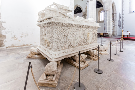 15th century: Santarem, Portugal. September 11, 2015: Gothic Tomb of Dom Pedro de Menezes and wife Dona Beatriz Coutinho. Santo Agostinho da Graca church. 14th and 15th century Mendicant and Flamboyant Gothic.