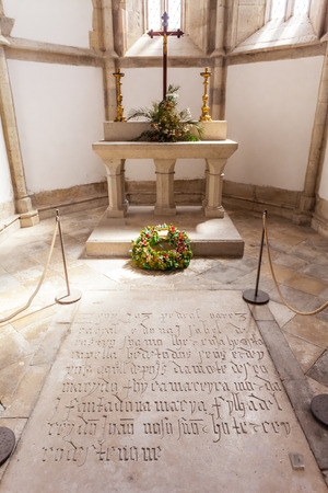 15th century: Santarem, Portugal. September 11, 2015: Pedro Alvares Cabral tomb, the navigator discoverer of Brazil, in Santo Agostinho da Graca church. 14th and 15th century Mendicant and Flamboyant Gothic.