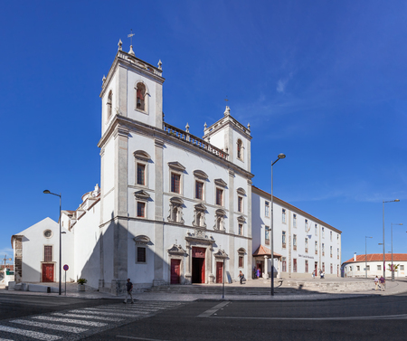 mannerism: Santarem, Portugal. September 10, 2015: Hospital de Jesus Cristo Church. 17th century Portuguese Mannerist architecture, called Chao.