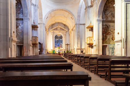 17th century: Santarem, Portugal. September 10, 2015: Nave of the Hospital de Jesus Cristo Church. 17th century Portuguese Mannerist architecture, called Chao.