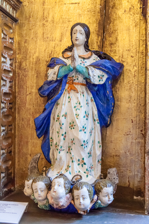 17th century: Santarem, Portugal. September 11, 2015:  17th century Our Lady of the Immaculate Conception statue in the Misericordia church. Editorial