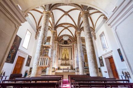 mannerism: Santarem, Portugal. September 11, 2015:  Misericordia church Nave. 16th century Hall-Church in late Renaissance Architecture.