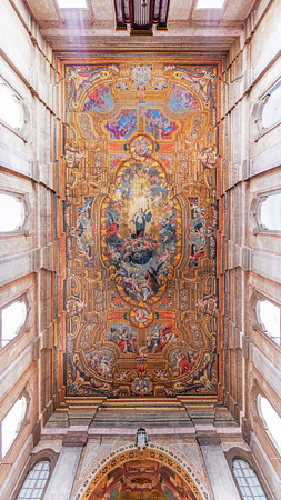 senhora: Santarem, Portugal. September 10, 2015: Painted ceiling with an image of Our Lady of Immaculate Conception in the Santarem See Cathedral aka Nossa Senhora da Conceicao Church. 17th century Mannerism. Editorial