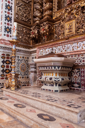 17th century: Santarem, Portugal. September 9, 2015: Baptismal font of the Santarem See Cathedral aka Nossa Senhora da Conceicao Church built in the 17th century Mannerist style. Editorial